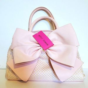 Betsey Johnson Satchel Big Bow Blush Purse Bag